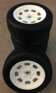 Picture of HPI 3855 VINTAGE STOCK CAR WHEEL 26mm WHITE (0mm OFFSET) w/ 4793 - VINTAGE RACING TIRE 26mm D COMPOUND SET of 4